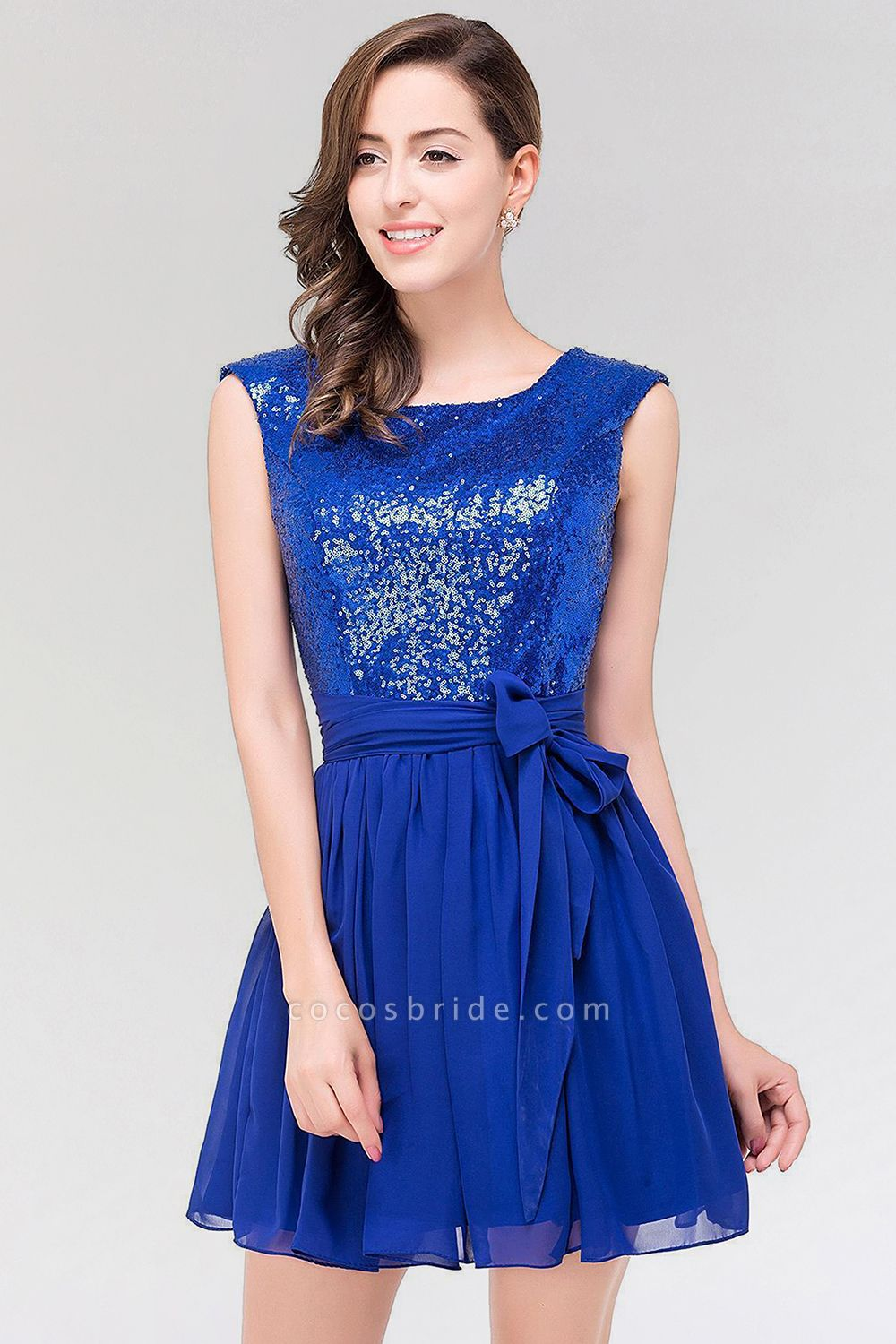 A-line Chiffon Square Sleeveless Bow Ruffles Mini Bridesmaid Dress with Sequins