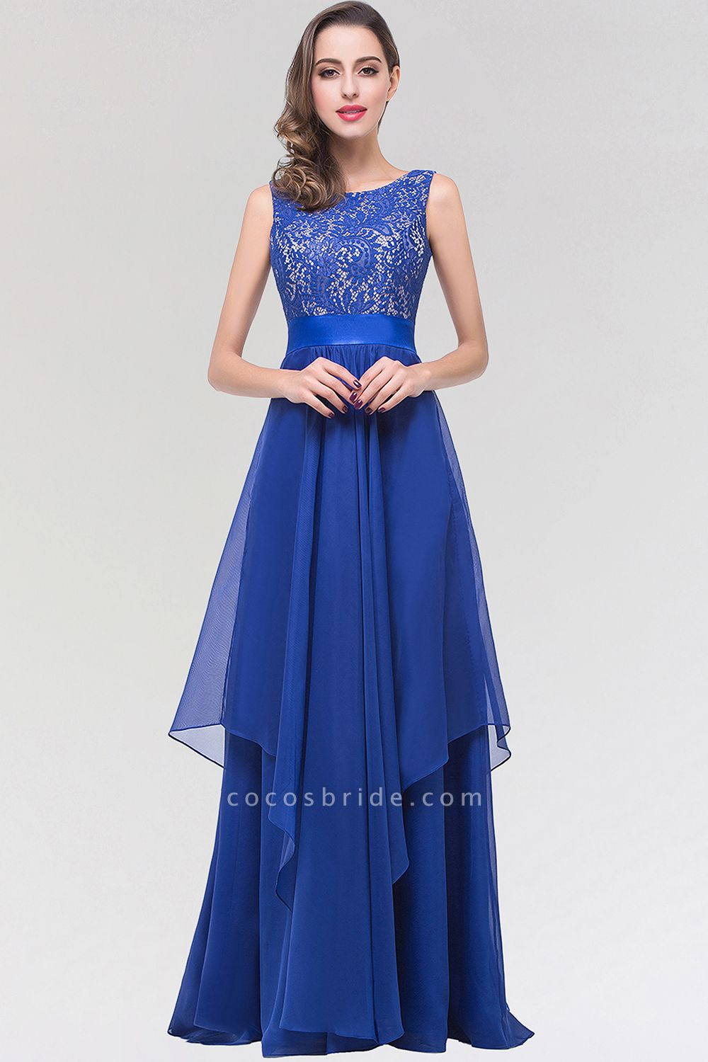 A-line Chiffon Lace Jewel Sleeveless Floor-length Bridesmaid Dresses