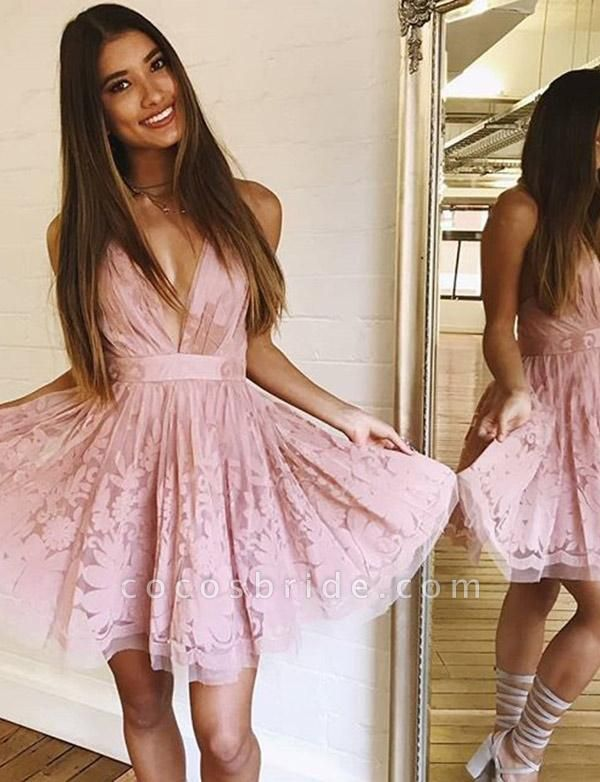 Charming Sleeveless A-Line Lace V-Neck Mini Homecoming Dress