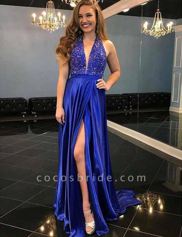 Fashion A-Line Beading Split Front Sleeveless V-Neck Prom Dress