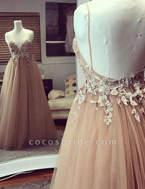 Fashion Tulle Champagne Spaghetti Straps A-Line Applique Prom Dress