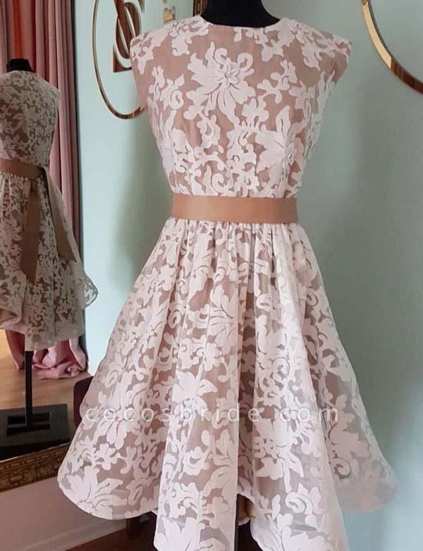 Glamorous Jewel A-Line Lace Cap Sleeves Mini Prom Dress