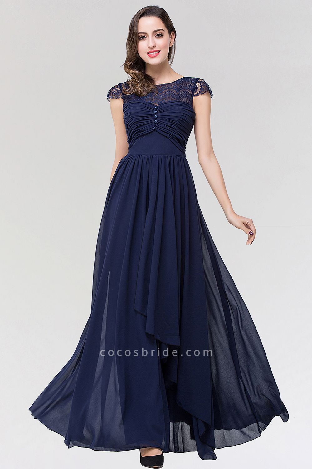 Elegant A-Line Chiffon Lace Scoop Sleeveless Ruffles Floor-Length Bridesmaid Dress with beadworks