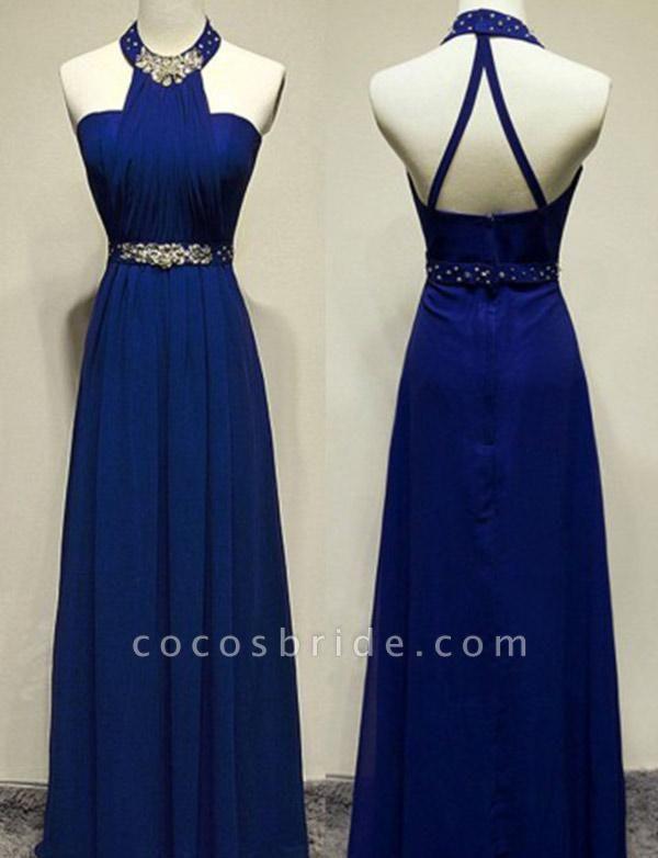 Modern Beading A-Line Sleeveless Floor-Length Jewel Prom Dress