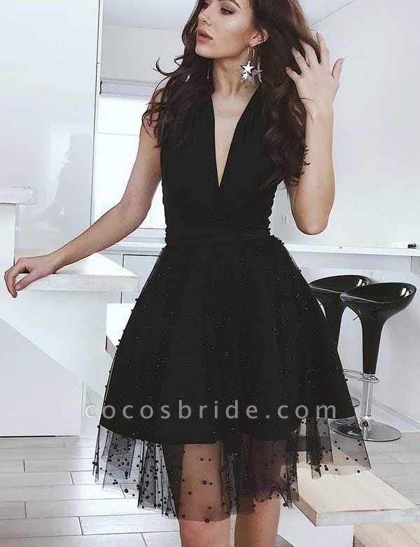 Charming A-Line Beading V-Neck Tulle Sleeveless Mini Prom Dress
