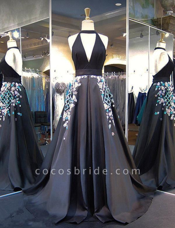 Exquisite Halter Appliques A-line Evening Dress