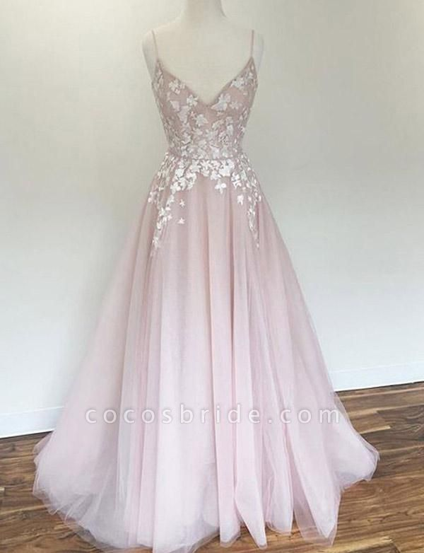 Charming A-Line Appliques Spaghetti Straps Floor-Length Prom Dress