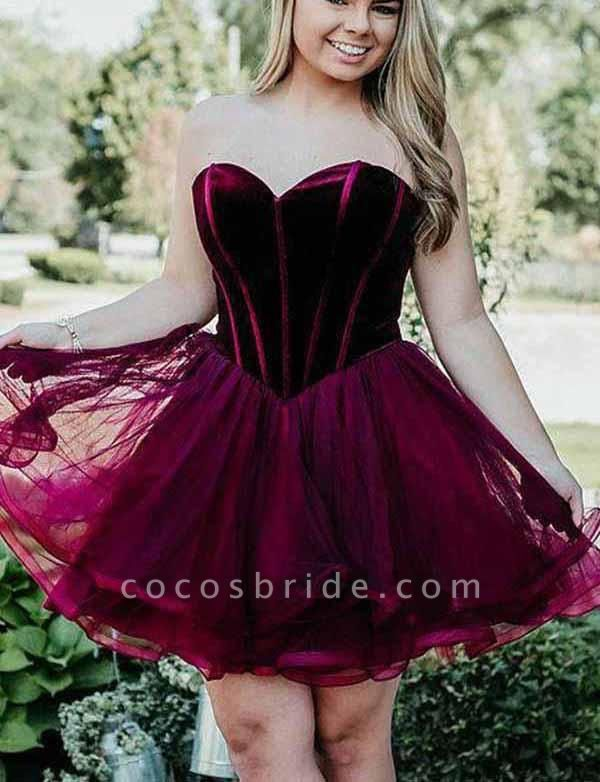 Stylish A-Line Sweetheart Lace-up Tulle Mini Prom Dress