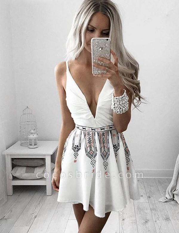 Beautiful V-neck Embroidery A-line Homecoming Dress