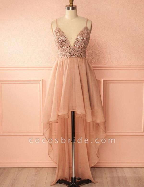 Charming A-Line Sequins Spaghetti Straps V-Neck High Low Prom Homecoming Dress