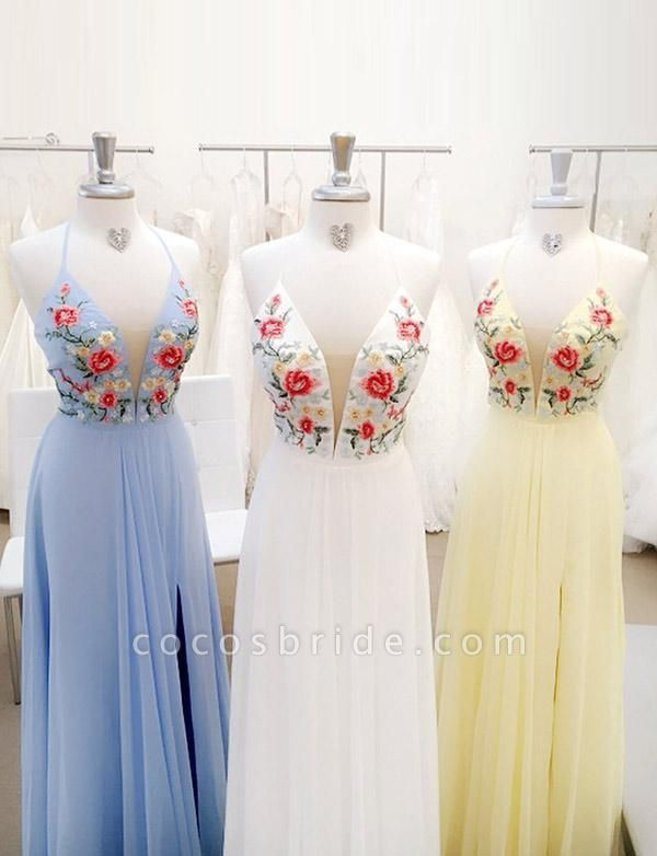 Stylish Lace A-Line Embroidery Spaghetti Straps Floor-Length Prom Dress
