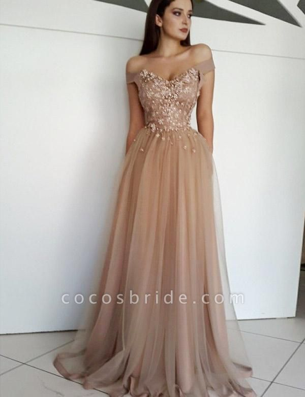 Chic Off-the-shoulder Tulle A-line Evening Dress