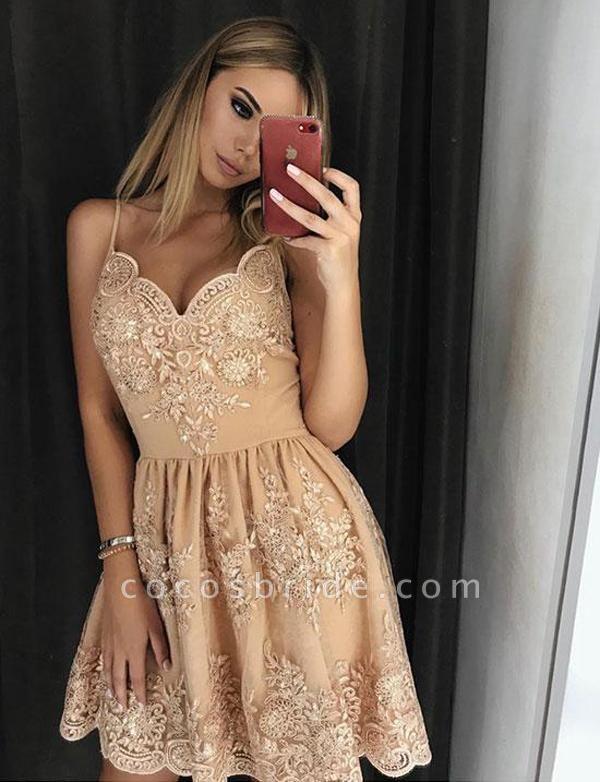 Elegant Lace A-Line Spaghetti Straps Appliques Mini Prom Dress