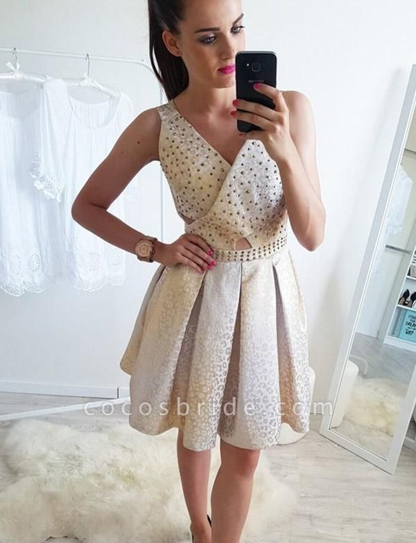 Fashion Sleeveless A-Line Beading V-Neck Short Prom Dress