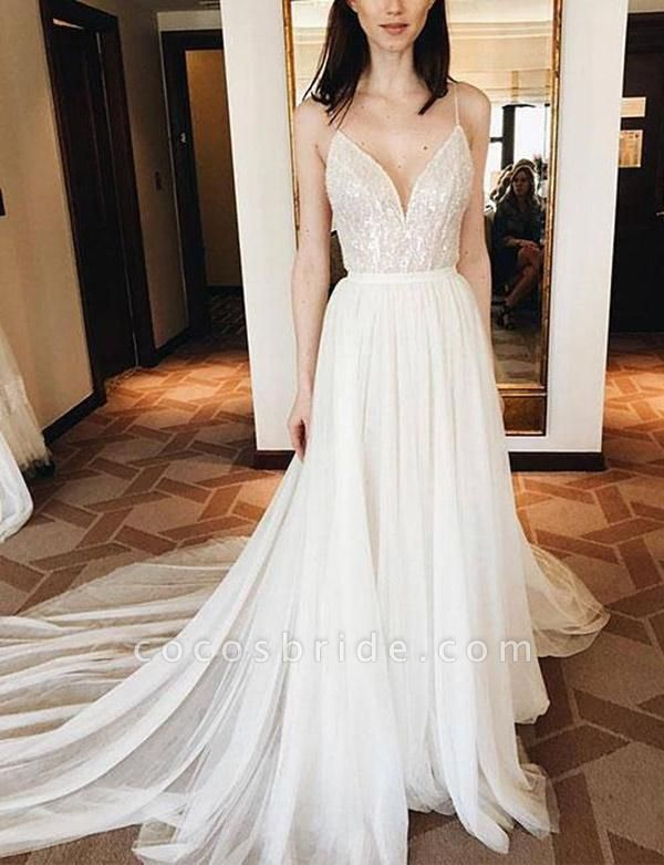 Elegant Lace Spaghetti Straps Court Train A-Line Prom Dress