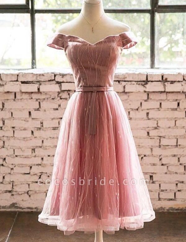 Elegant Short Sleeves A-Line Off-the-Shoulder Tea-Length Homecoming Dress