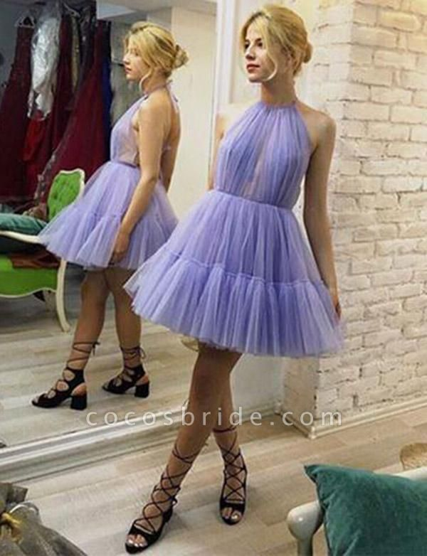Unique Sleeveless A-Line Halter Tulle Short Prom Dress