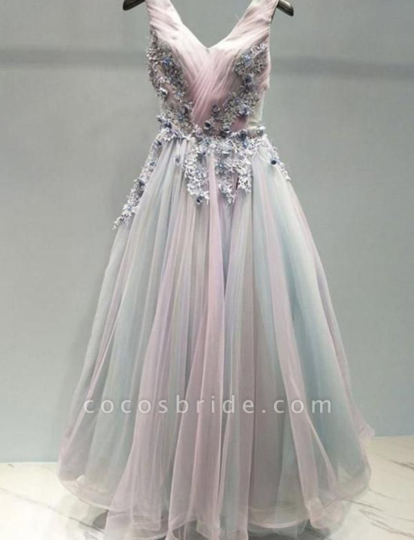 Stunning A-Line Appliques Spaghetti Straps Tulle Floor-Length Prom Dress