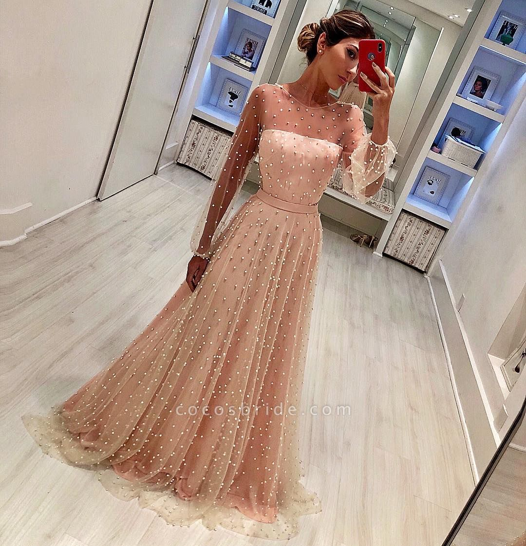 Round Neck Long Sleeves A-Line Tulle Belt Prom Dress