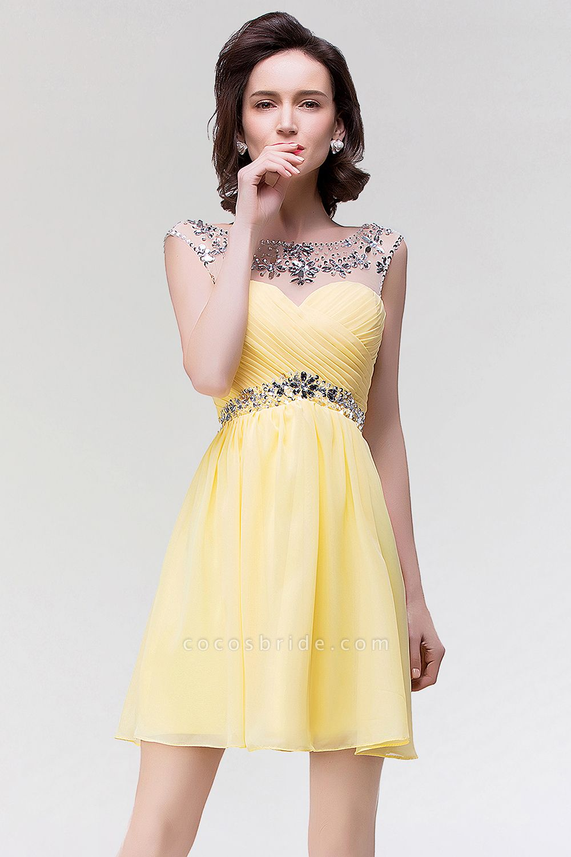 A-Line Chiffon Sweetheart Sleeveless Ruffles Mini Bridesmaid Dress with Beading