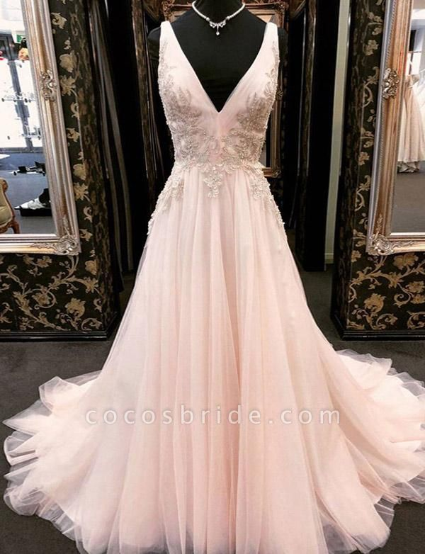 Elegant Appliques A-Line Tulle V-Neck Floor-Length Sleeveless Prom Dress