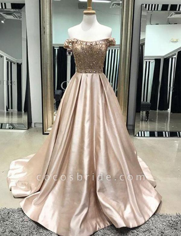 Elegant A-Line Beading Off-the-Shoulder Pocket Floor-Length Prom Dress