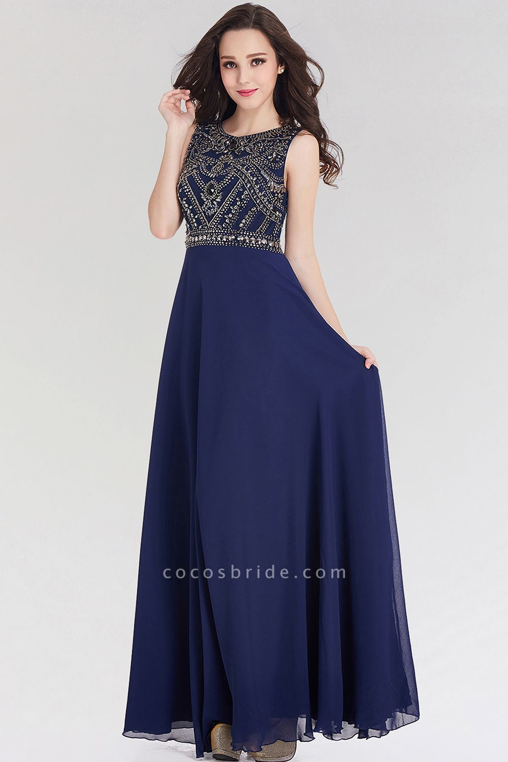 Elegant A-Line Chiffon Jewel Sleeveless Floor-Length Bridesmaid Dress with Beadings