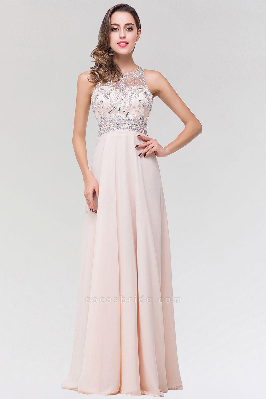 Elegant A-Line Chiffon Tulle Scoop Sleeveless Floor-Length Bridesmaid Dress with Beadings