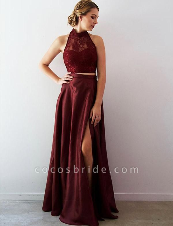 Attractive Halter Lace Two Pieces Evening Dress