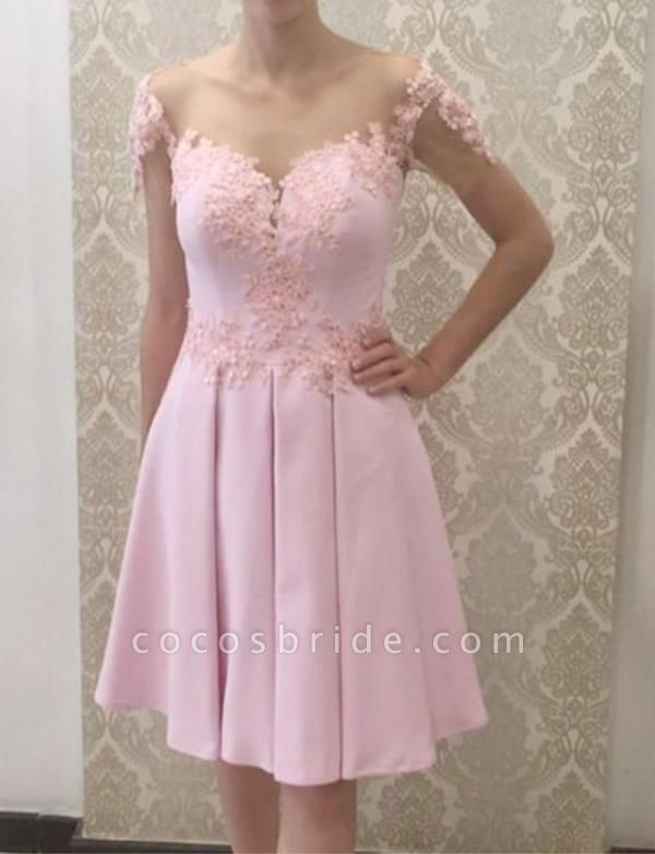 Glamorous A-Line Appliques Short Sleeves Knee-Length Prom Dress