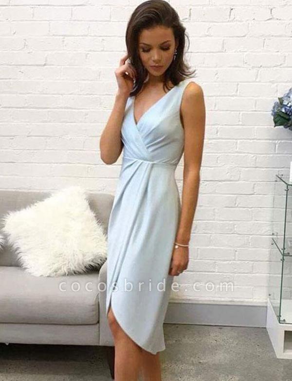 Elegant Sleeveless A-Line V-Neck High Low Homecoming Dress
