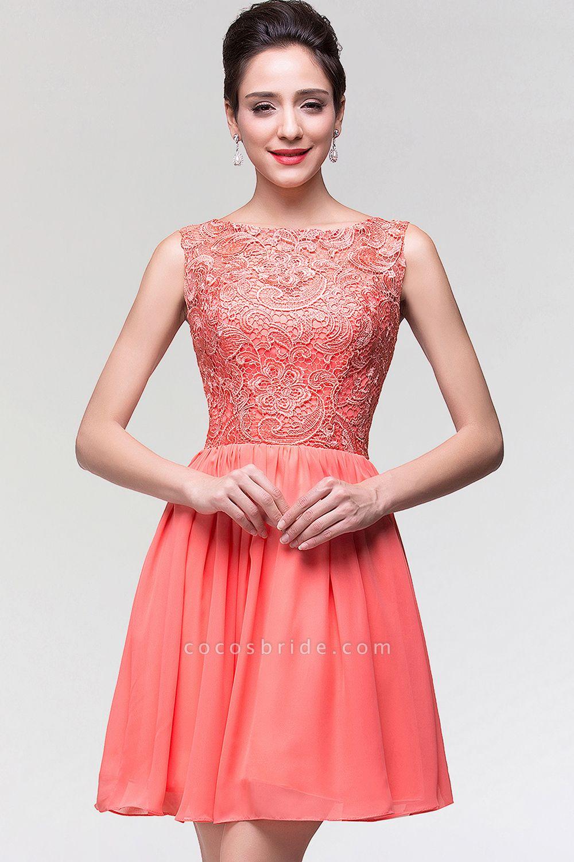 A-Line Chiffon Lace Scoop Sleeveless Ruffles Mini Bridesmaid Dress