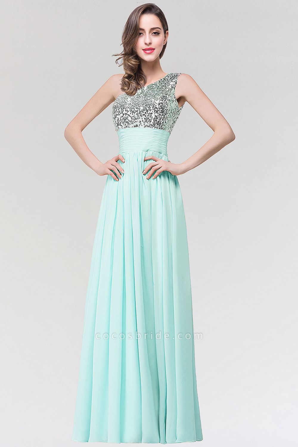 A-line Chiffon One-Shoulder Sleeveless Floor-Length Bridesmaid Dress with Sequins