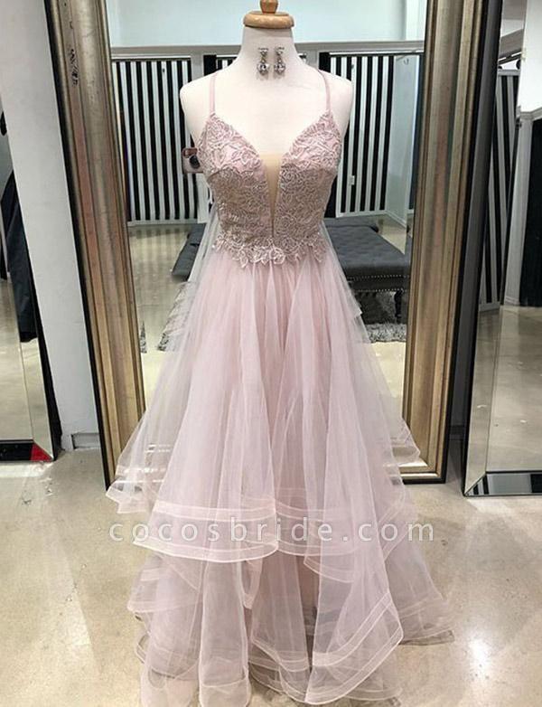 Elegant Floor-Length A-Line Appliques Spaghetti Straps Tulle Prom Dress