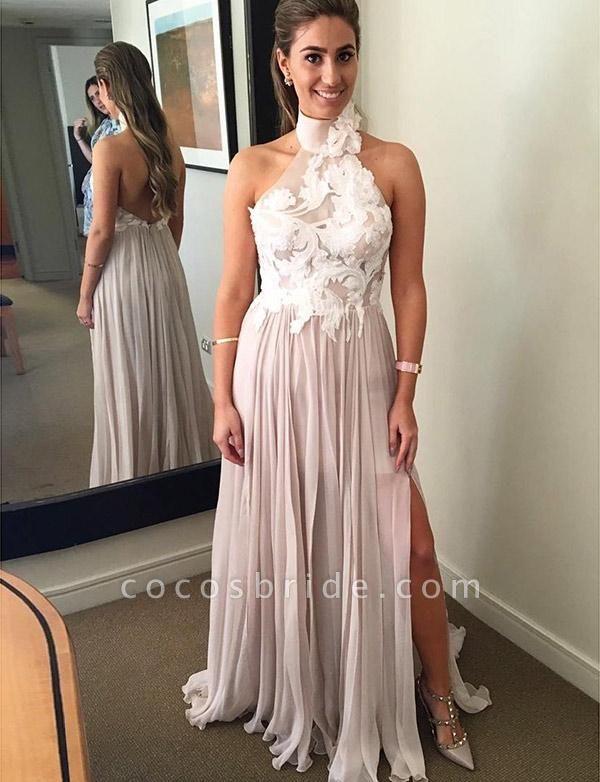 Unique A-Line Split Front High Neck Appliques Sleeveless Floor-Length Prom Dress