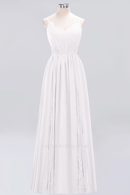BM0213 A-Line Chiffon V-Neck Spaghetti Straps Long Bridesmaid Dress