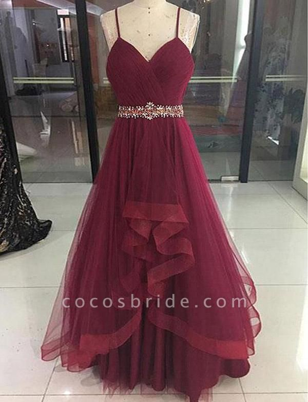 Fashion Tulle A-Line Beading Spaghetti Straps Floor-Length Prom Dress