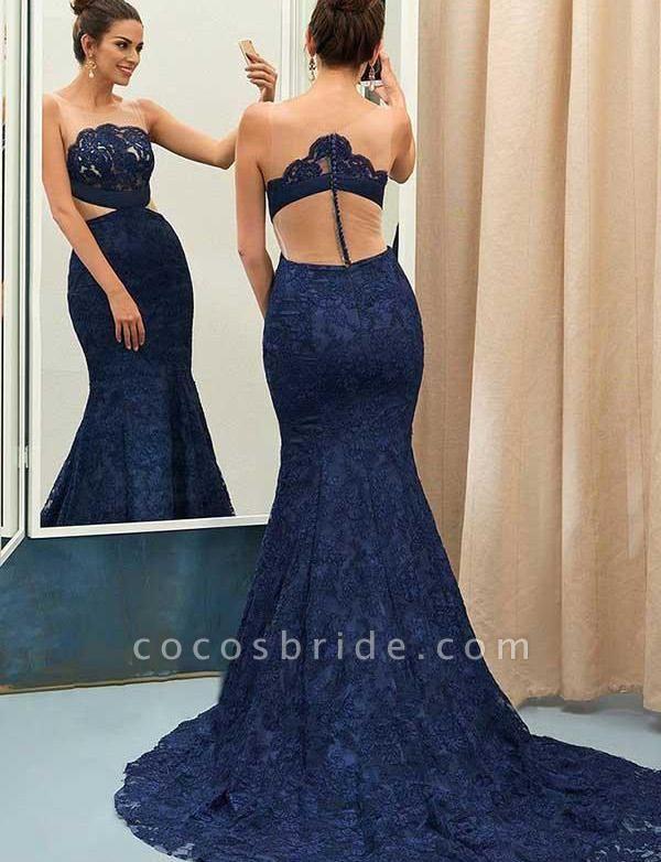 Sexy Jewel Sweep Train Sleeveless Lace Mermaid Prom Dress