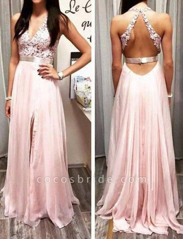 Stylish Lace Floor-Length A-Line Split Front V-Neck Appliques Sleeveless Prom Dress