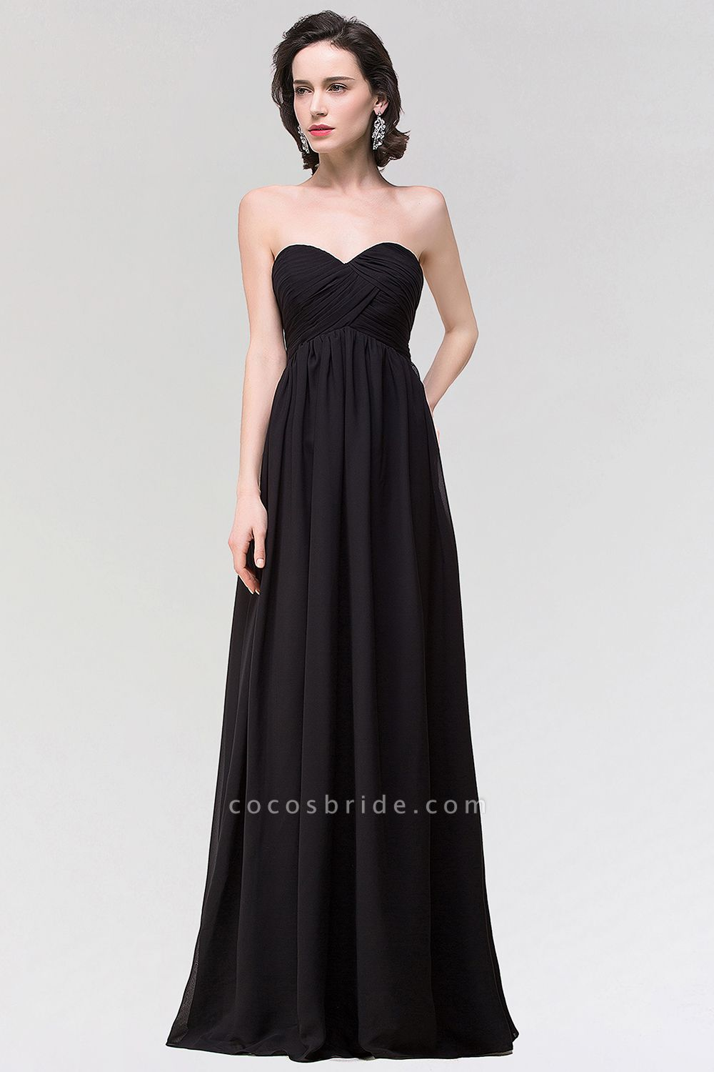 A-line Chiffon Strapless Sweetheart Sleeveless Floor-Length Bridesmaid Dress with Ruffles