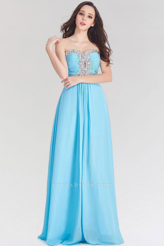 A-line Chiffon Sweetheart Sleeveless Ruffles Floor-Length Bridesmaid Dress with Beadings