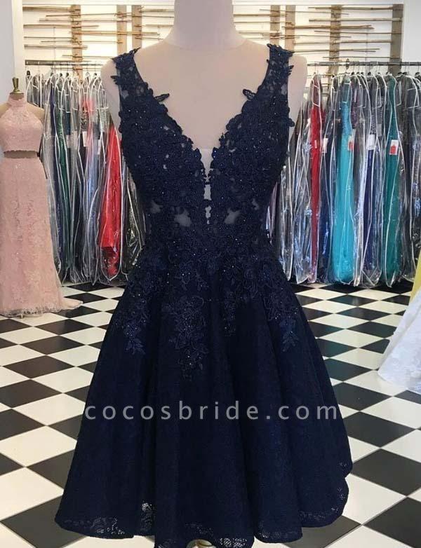 Fashion Sleeveless A-Line Appliques V-Neck Mini Prom Dress