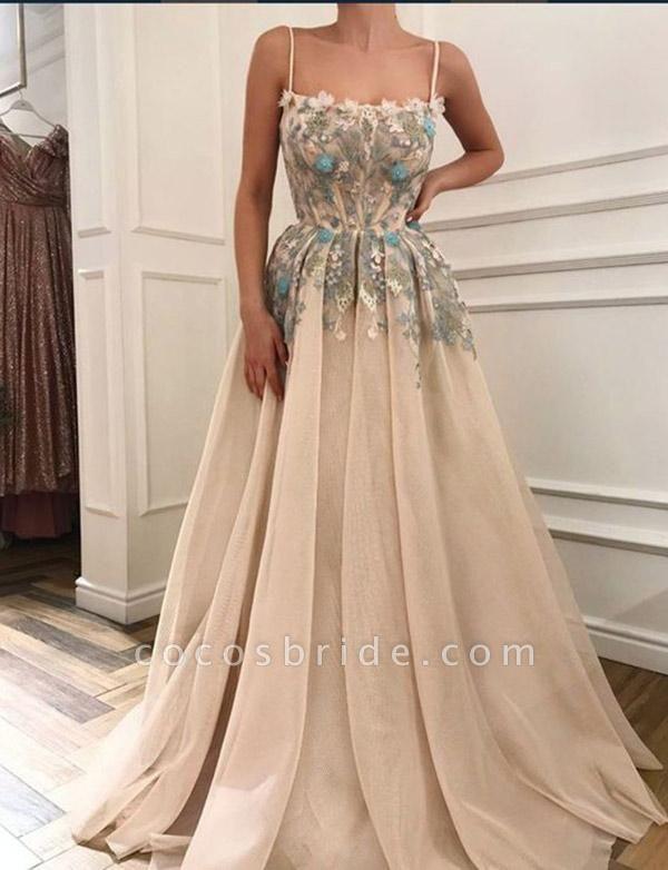 Beautiful Spaghetti Straps Appliques A-line Evening Dress