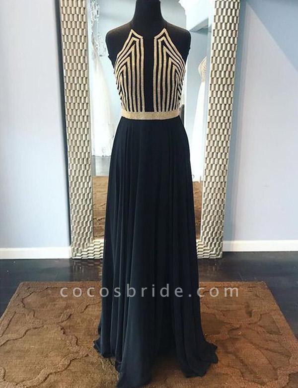 Fashion Sequins A-Line Sleeveless Halter Floor-Length Prom Dress