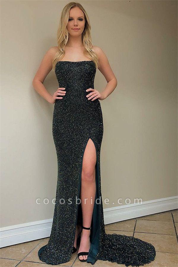 Modest Spaghetti Straps Sequined Column Prom Dress