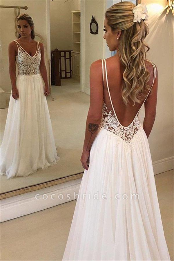 Modest V-neck Chiffon A-line Prom Dress