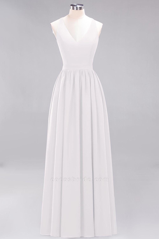 BM0152 Chiffon Lace V-Neck Sleeveless Straps Floor Length Bridesmaid Dress