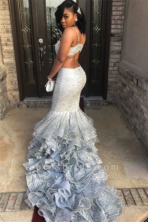 Affordable Spaghetti Straps Tiered Mermaid Prom Dress