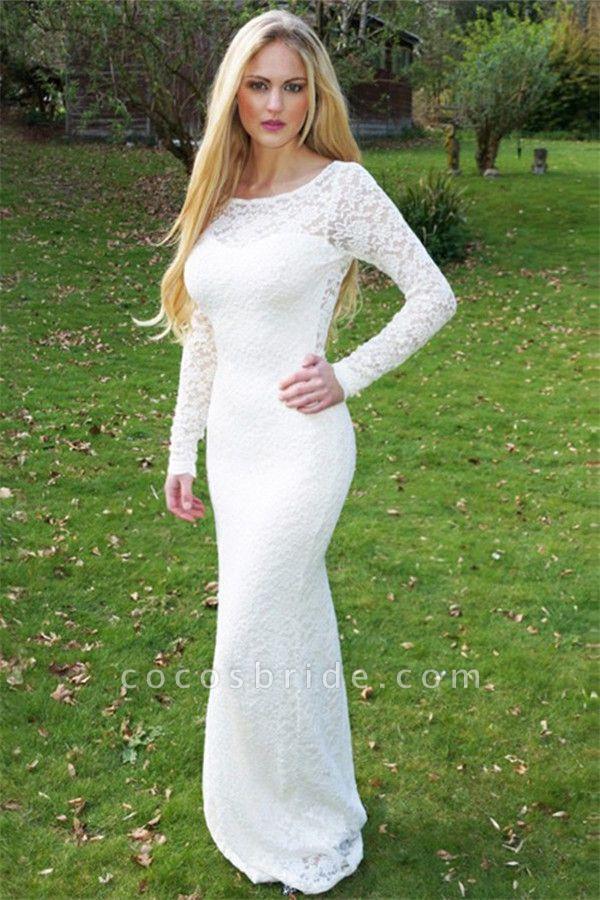 Modest Jewel Lace Column Prom Dress