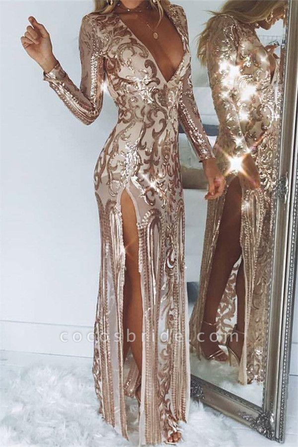 Modest V-neck Tulle Column Prom Dress